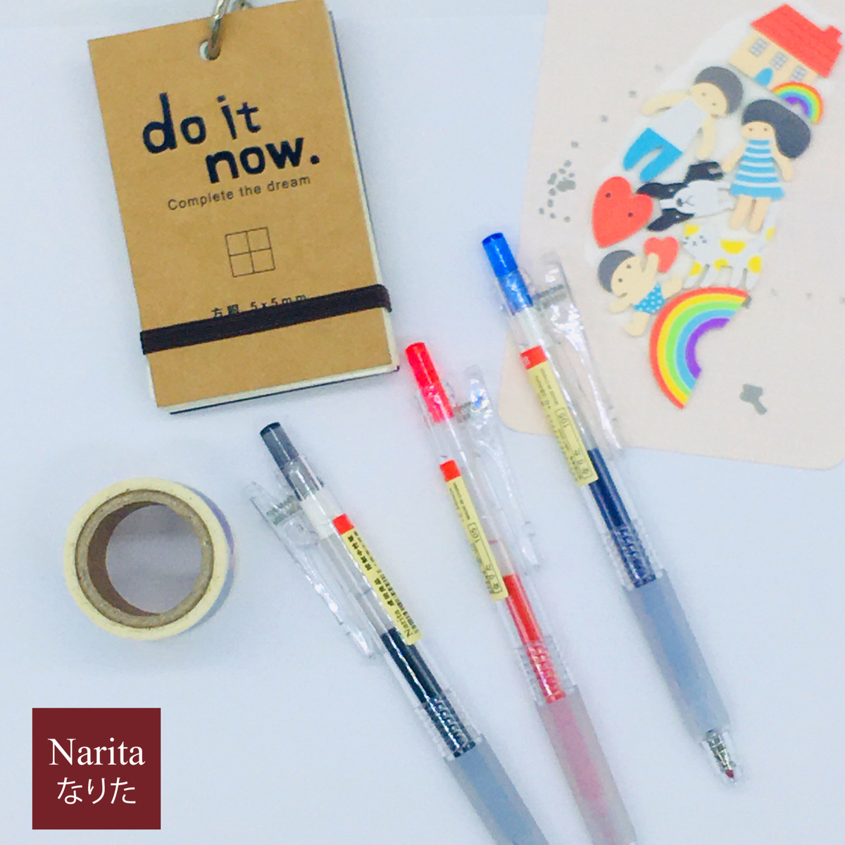 ปากกาเจล NARITA  รุ่น 105 ขนาด 0.38 mm ดีไซน์ด้ามกลม เส้นเล็ก